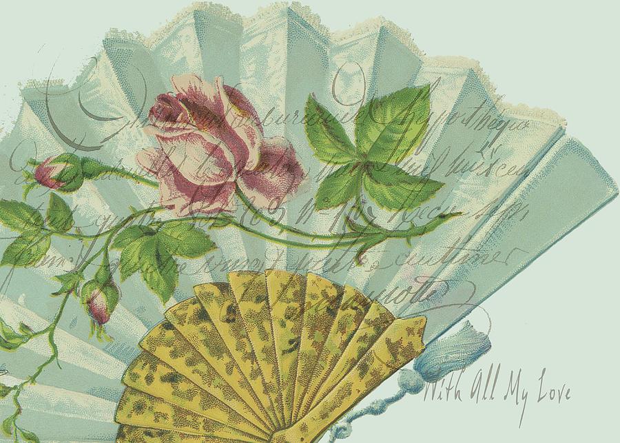 Ladies Fan Digital Art - Decorated Valentine Fan by Sarah Vernon