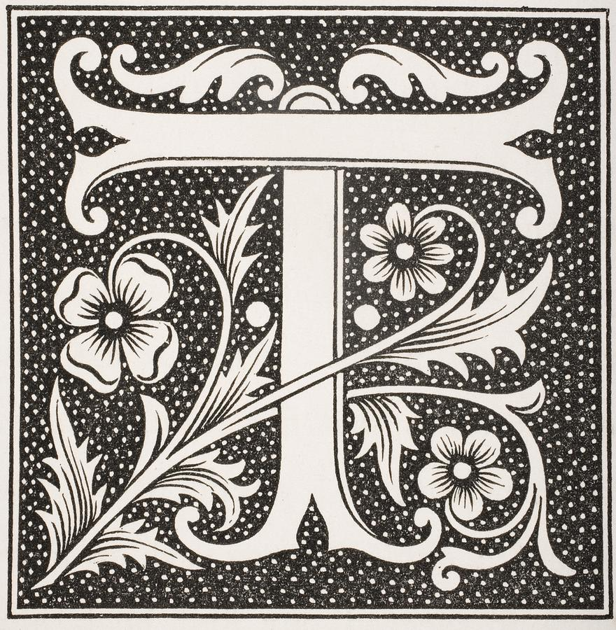 Decorative Capital Letter T Drawing By Vintage Design Pics