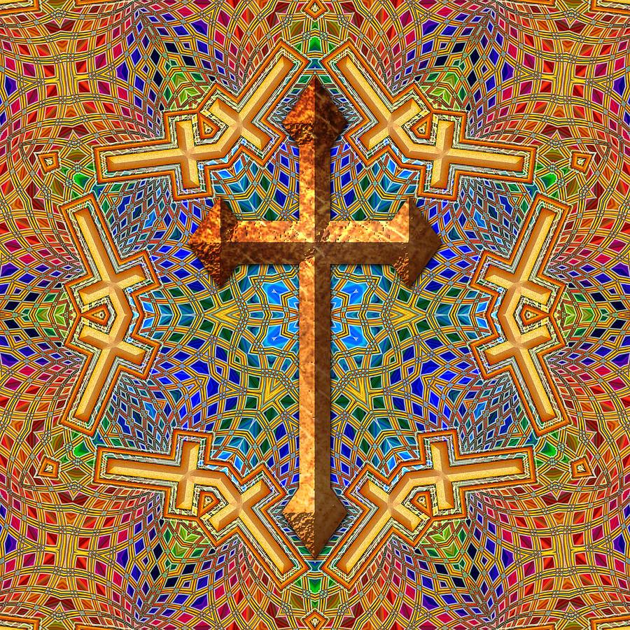 cross digital art decorative cross by david g paul - Decorative Cross