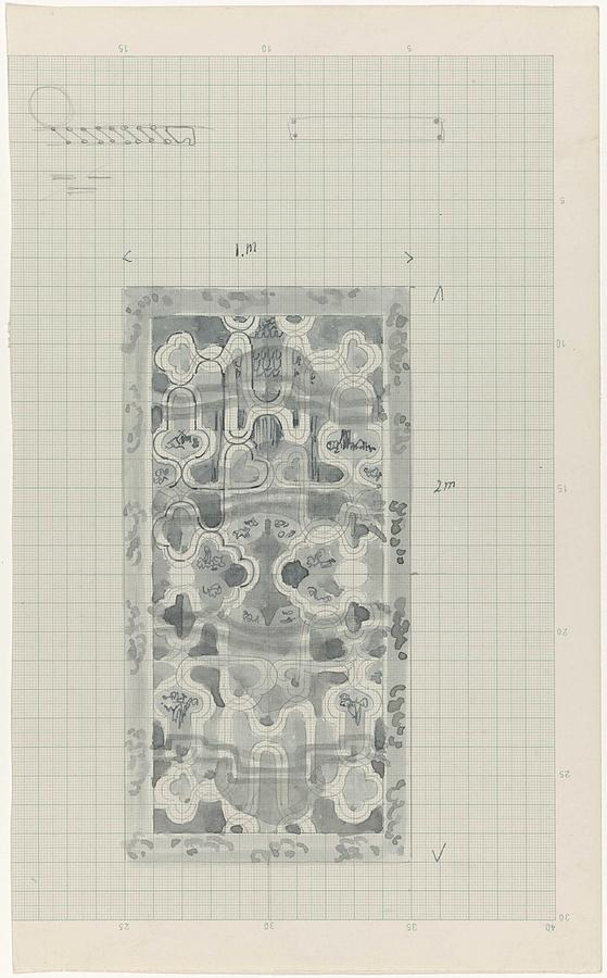 Decorative Design In Gray-blue, Carel Adolph Lion Cachet, 1874 - 1945 Painting