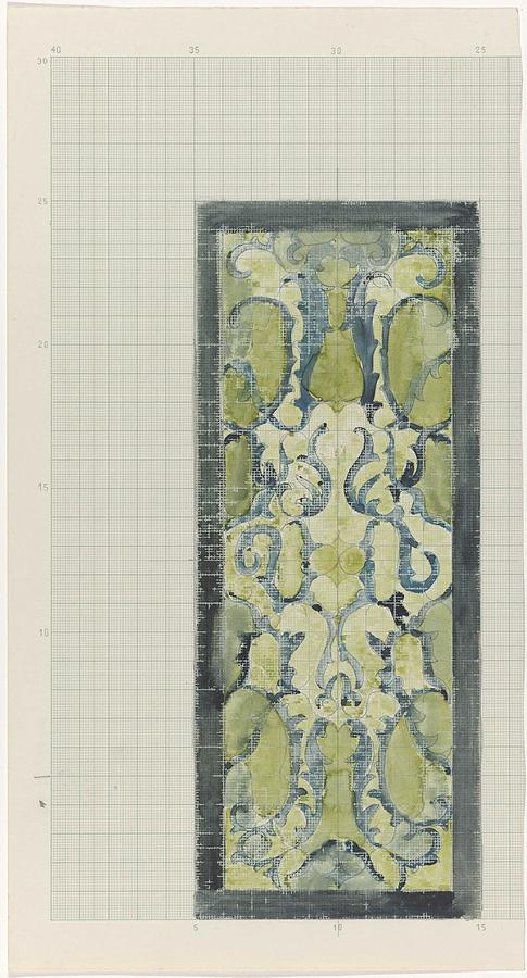 Pattern Painting - Decorative Design In Green And Blue, Carel Adolph Lion Cachet, 1874 - 1945 by Carel Adolph Lion Cachet