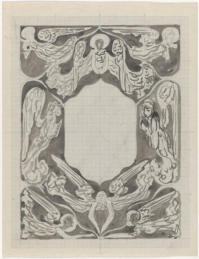 Pattern Painting - Decorative Design With Angels, Carel Adolph Lion Cachet, 1874 - 1945 by Carel Adolph Lion Cachet