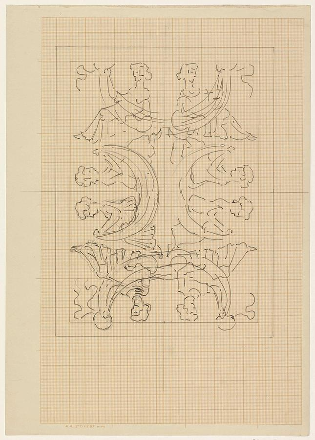 Pattern Painting - Decorative Design With Eight Seated Women, Carel Adolph Lion Cachet, 1874 - 1945 by Carel Adolph Lion Cachet