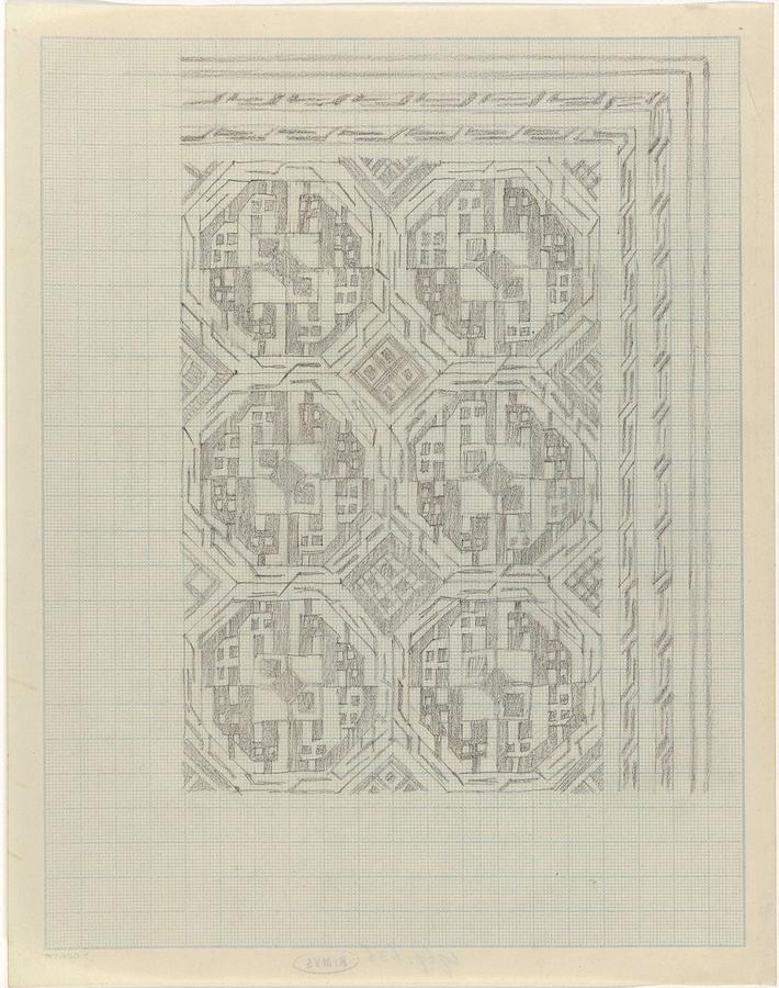 Pattern Painting - Decorative Design With Geometric Motif, Carel Adolph Lion Cachet, 1874 - 1945 by Carel Adolph Lion Cachet