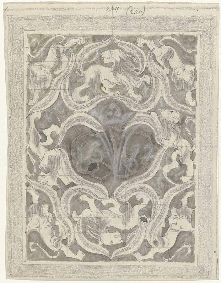 Pattern Painting - Decorative Design With Leaf Motif, Carel Adolph Lion Cachet, 1874 - 1945 by Carel Adolph Lion Cachet
