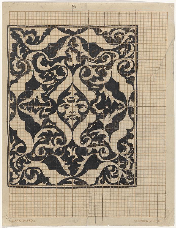 Pattern Painting - Decorative Design With Mask, Carel Adolph Lion Cachet, 1874 - 1945 by Carel Adolph Lion Cachet