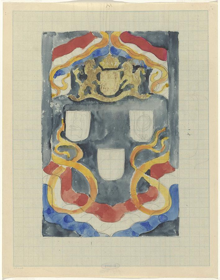 Pattern Painting - Decorative Design With The National Coat Of Arms, Flags And Banners, Carel Adolph Lion Cachet, 1874  by Carel Adolph Lion Cachet