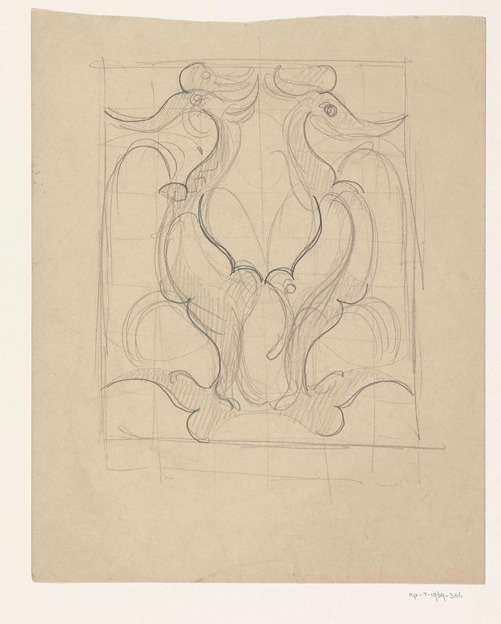 Pattern Painting - Decorative Design With Two Birds, Carel Adolph Lion Cachet, 1874 - 1945 by Carel Adolph Lion Cachet