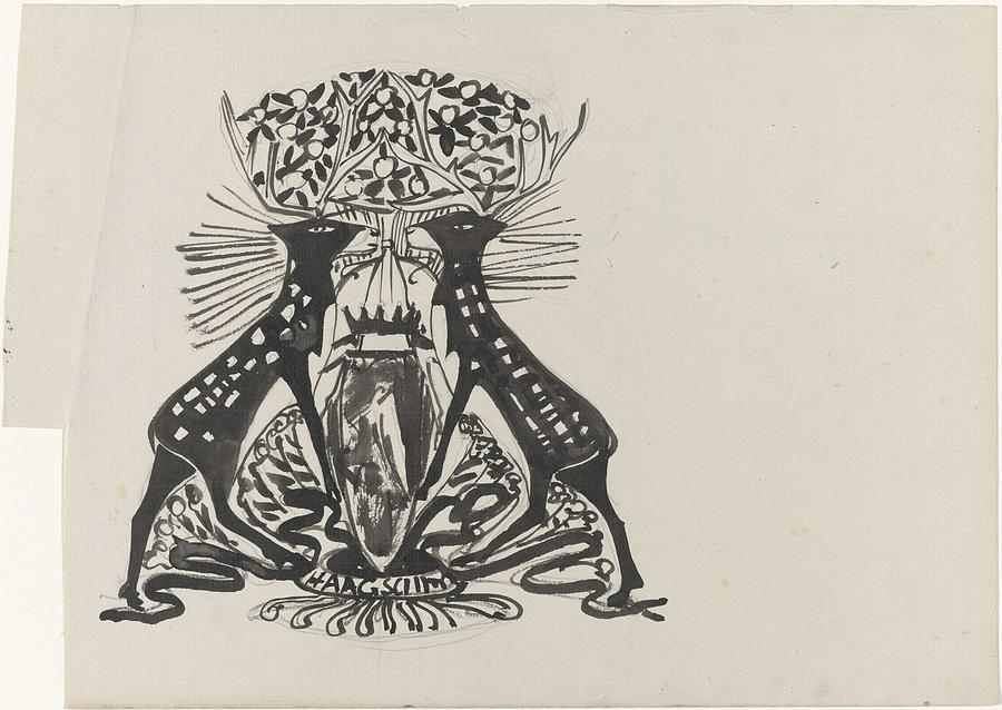Pattern Painting - Decorative Design With Two Standing Deer, Carel Adolph Lion Cachet, 1874 - 1945 by Carel Adolph Lion Cachet
