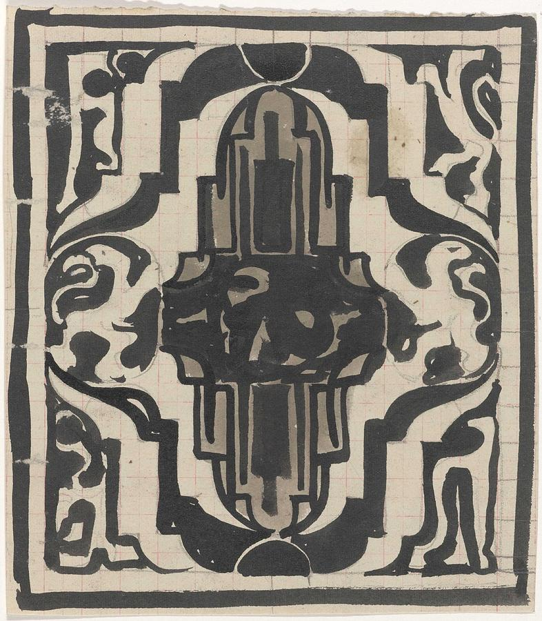 Pattern Painting - Decorative Design With Two Stylized Lions, Carel Adolph Lion Cachet, 1874 - 1945 by Carel Adolph Lion Cachet