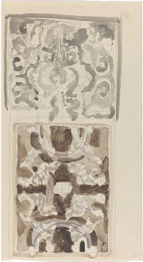 Pattern Painting - Decorative Designs With Seated Figures, Carel Adolph Lion Cachet, 1874 - 1945 by Carel Adolph Lion Cachet