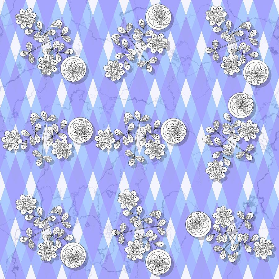 Decorative floral blue white black seamless pattern by Lenka Rottova