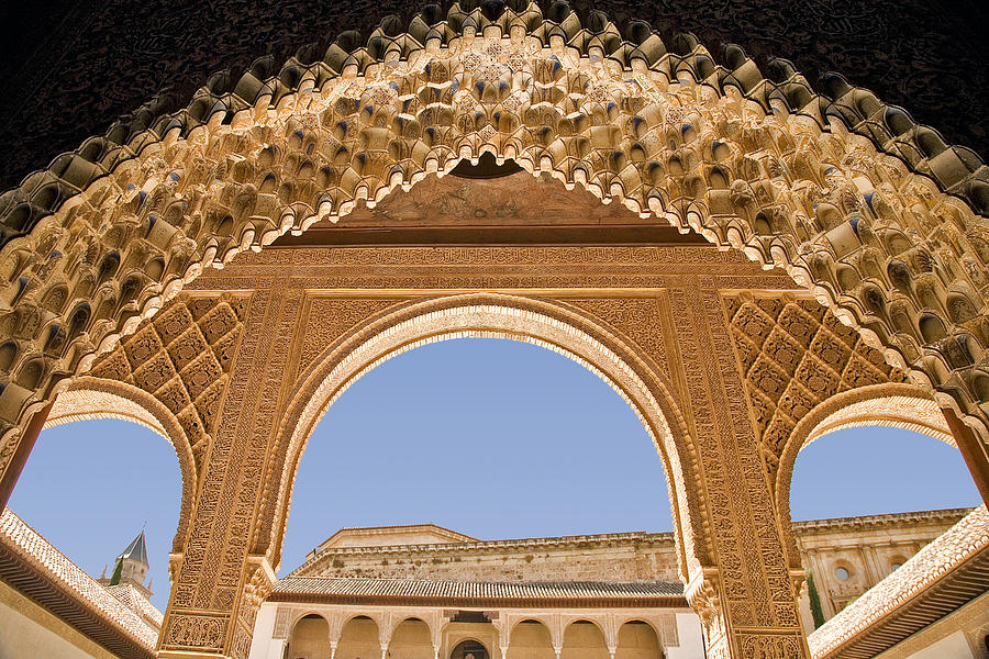 Architecture Photograph - Decorative Moorish Architecture In The Nasrid Palaces At The Alhambra Granada Spain by Mal Bray