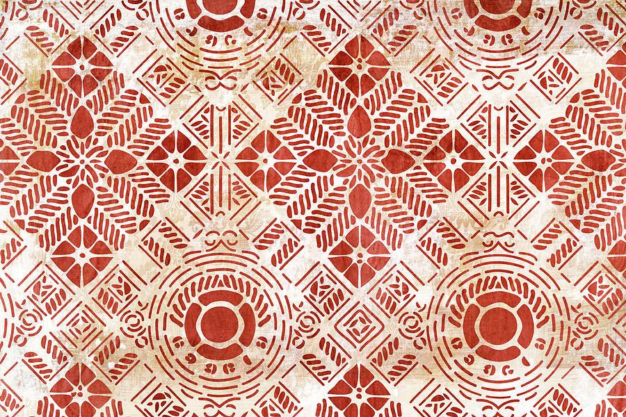 Vintage Painting - Decorative Vintage Pattern Sanguine Red by Frank Tschakert
