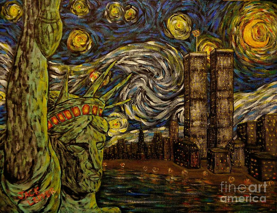 Dedication to Van Gogh NYC Starry Night Twin Towers The True Towers by Jack Lepper