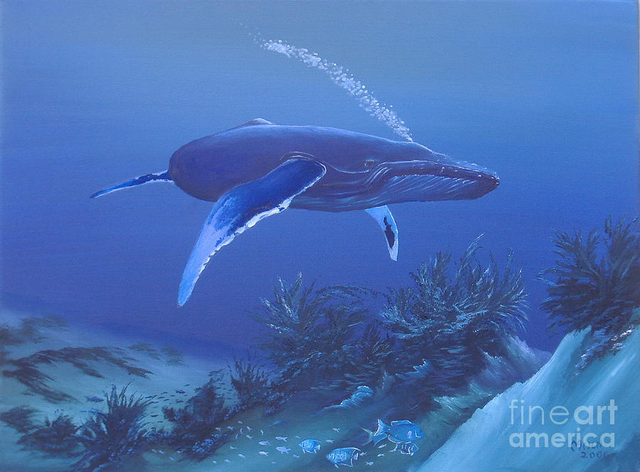 Whales Painting - Deep Blue by Michael Allen