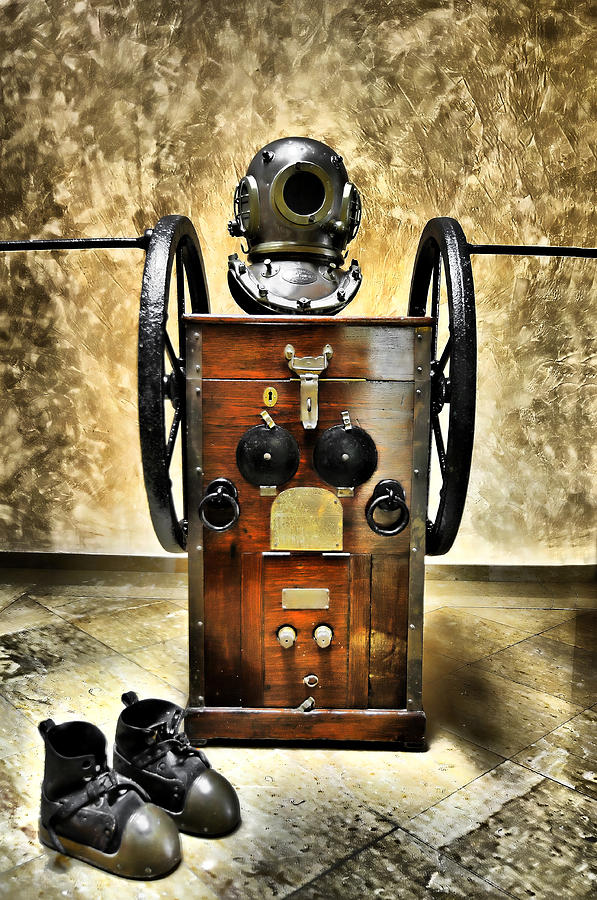 Nobody Photograph - Deep Diver Equipment In Vintage Process by Pedro Cardona Llambias