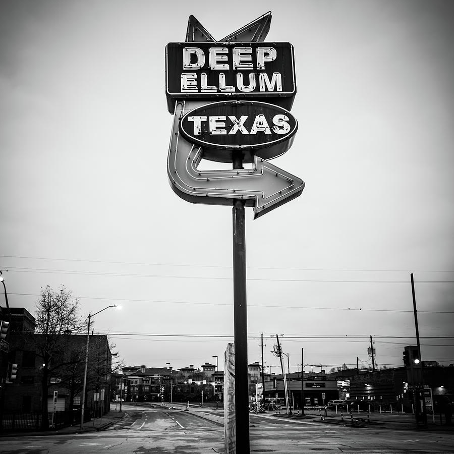 America photograph deep ellum texas neon sign dallas texas black and white by gregory