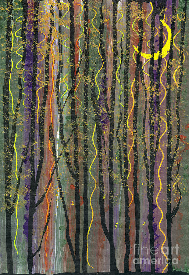 Mixed Media Mixed Media - Deep in the Evening of the Smiley Moon by Cyndi Lavin