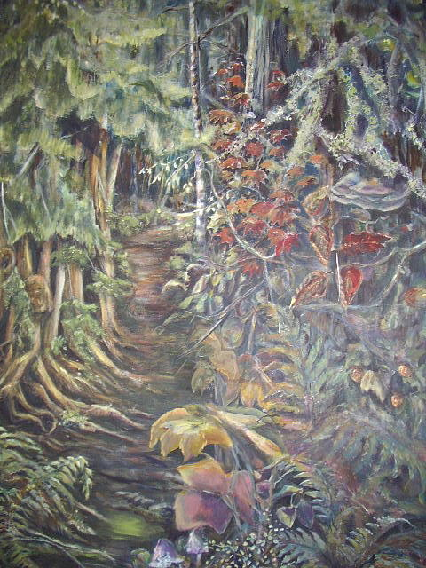 Pacific North West Painting - Deep In The Forest by KC Winters