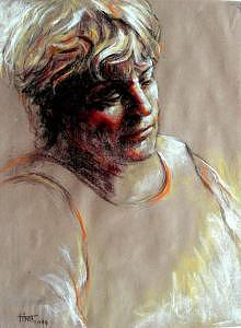 Portrait Painting - Deep In Thought by Tina Siddiqui