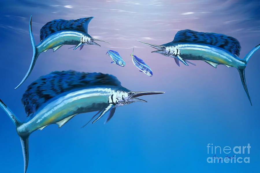 Blue Marlin Painting - Deep Ocean by Corey Ford
