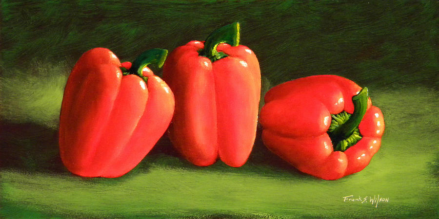 Peppers Painting - Deep Red Peppers by Frank Wilson