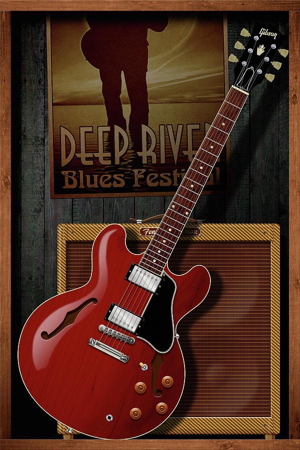 Electric Guitar Digital Art - Deep River Blues by WB Johnston