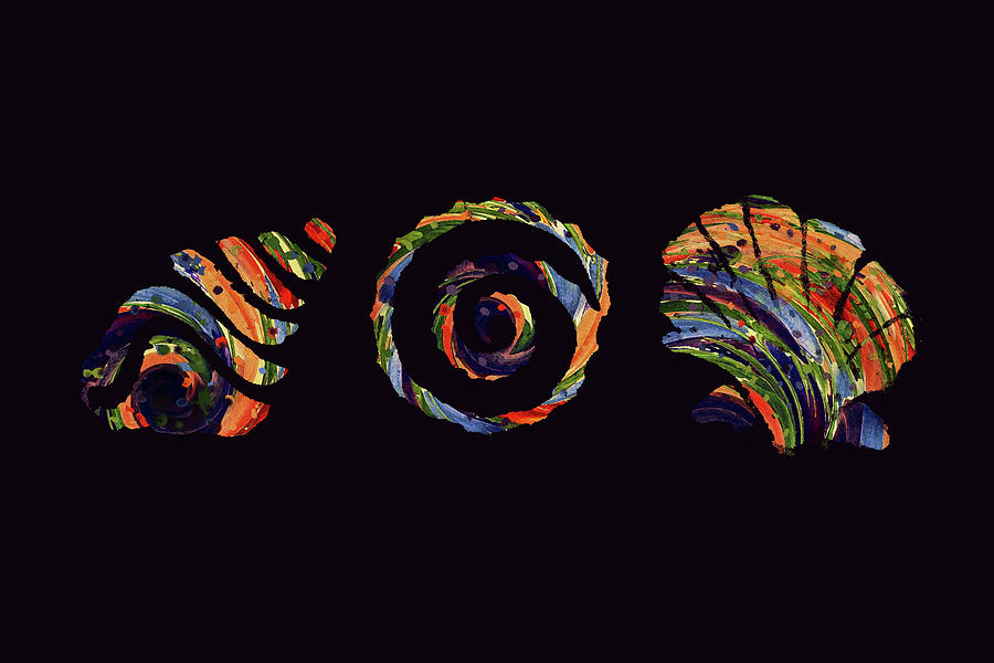 Abstract Digital Art - Deep Sea Shell Trio by Deborah Smith