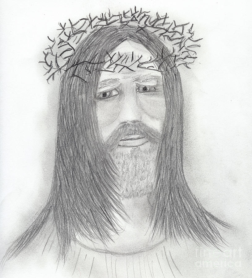 Jesus Drawing - Deep Sorrow by Sonya Chalmers