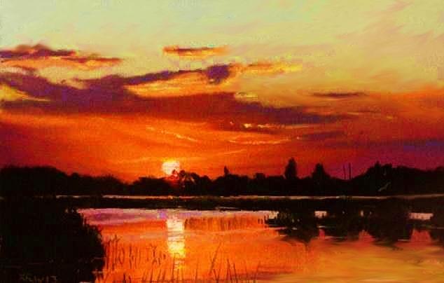 Deep Sunset Painting by Joseph Barani
