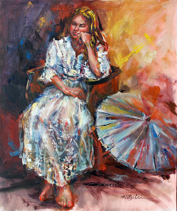 Oil Painting Painting - Deep Thoughts by Mitzi Lai