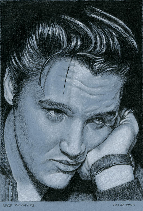 Elvis Drawing - Deep Thoughts by Rob De Vries