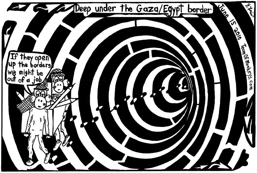 Gaza Painting - Deep Under The Gaza Border. By Yontan Frimer by Yonatan Frimer Maze Artist