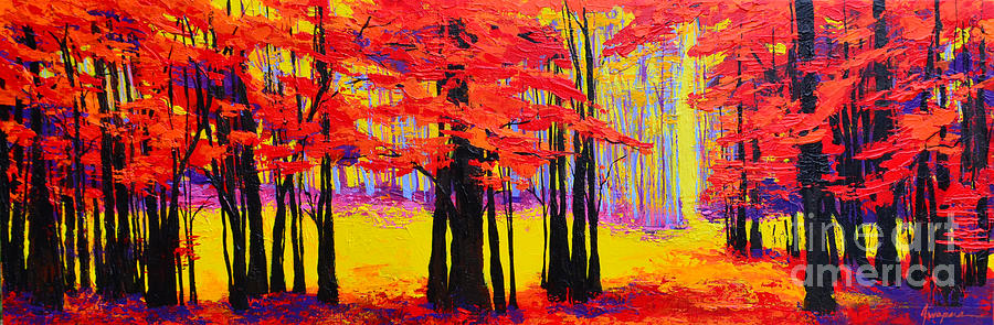 Deep Within - Enchanted Forest Collection - Modern Impressionist Landscape Art - Palette knife by Patricia Awapara
