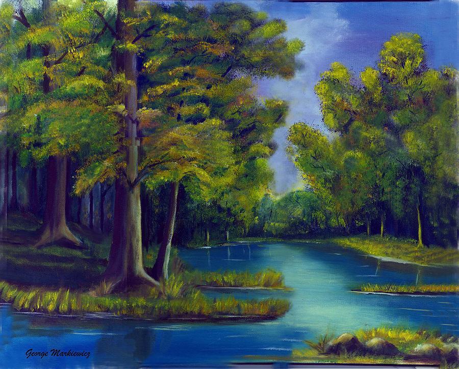 Water Landscape Print - Deep Woods by George Markiewicz
