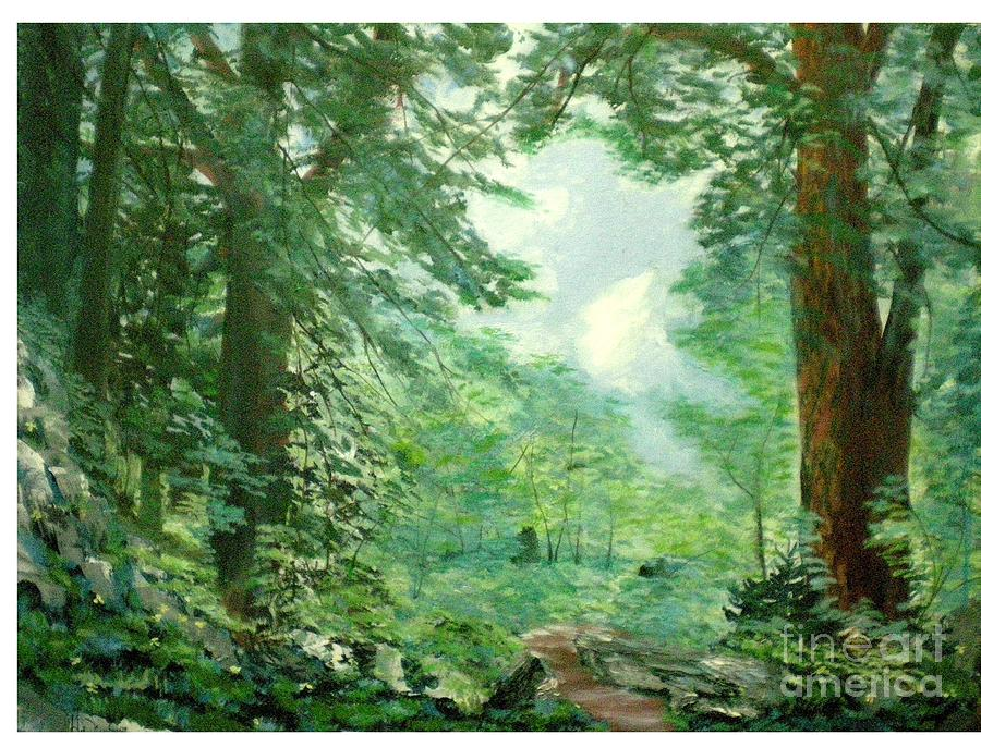 Landscape Painting - Deep Woods Path by Hal Newhouser