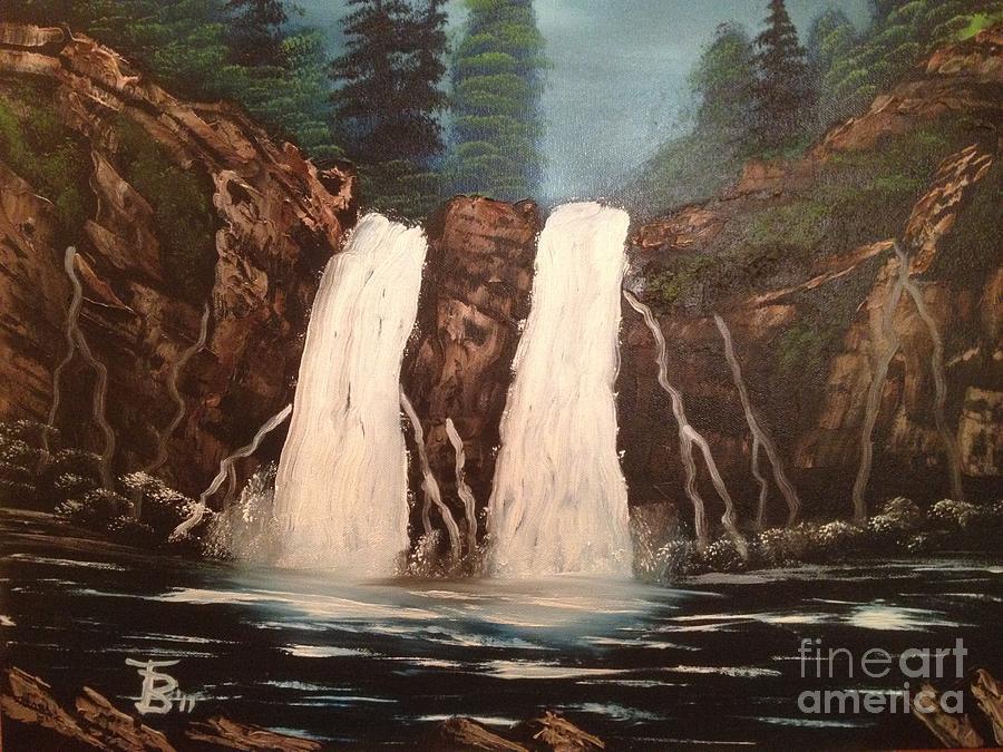 Original Painting - Deep Woods Waterfall by Tim Blankenship
