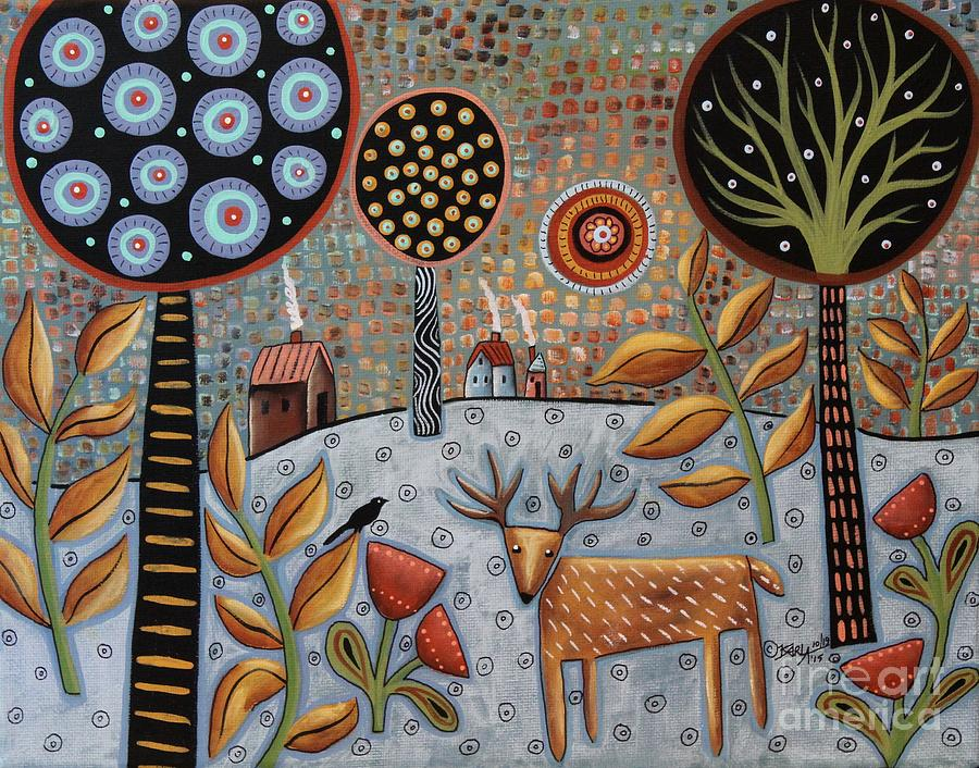 Landscape Painting - Deer And Bird 1 by Karla Gerard