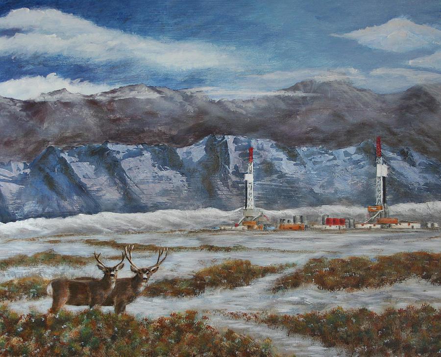 Deer Painting - Deer And Drilling Rig by Karen Peterson