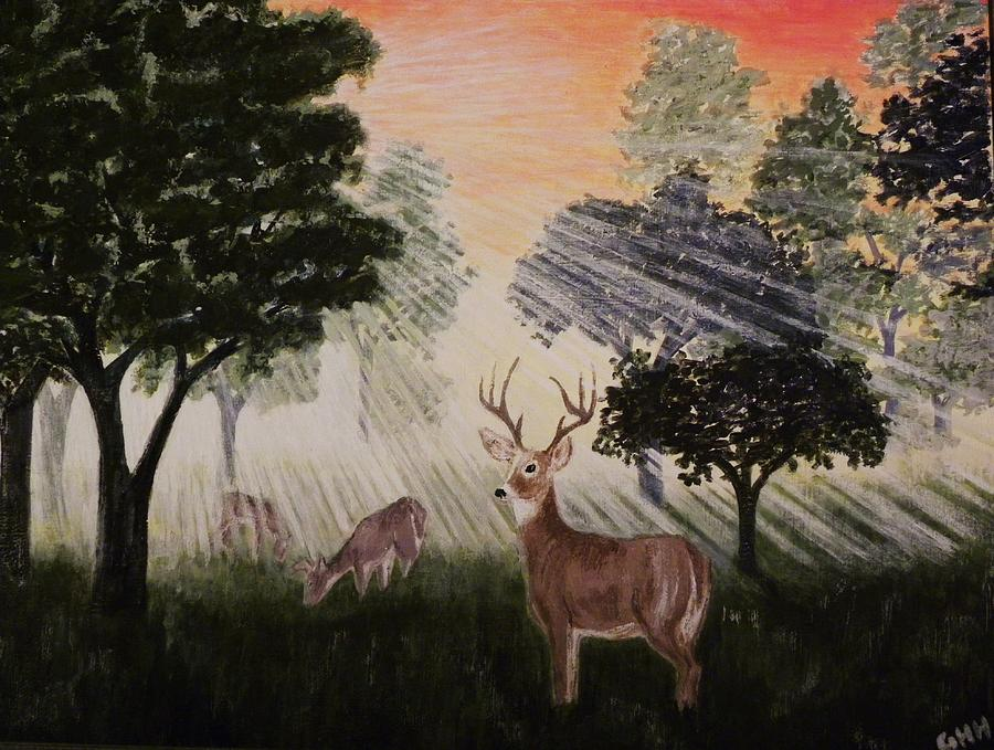 Deer Painting - Deer At Dawn by G H Hisayasu
