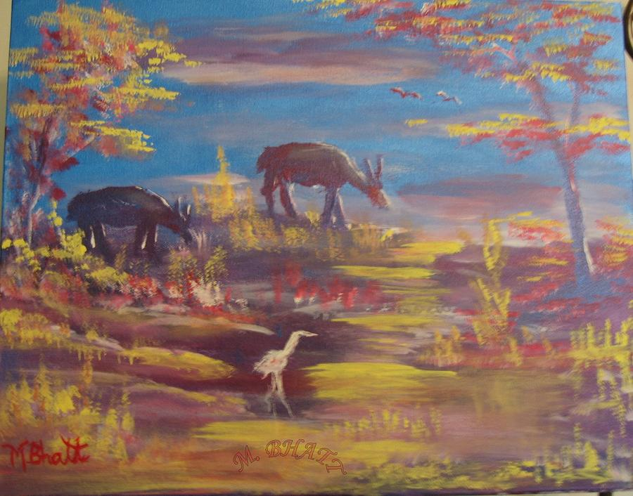 Deer Painting - Deer At Dust by M Bhatt