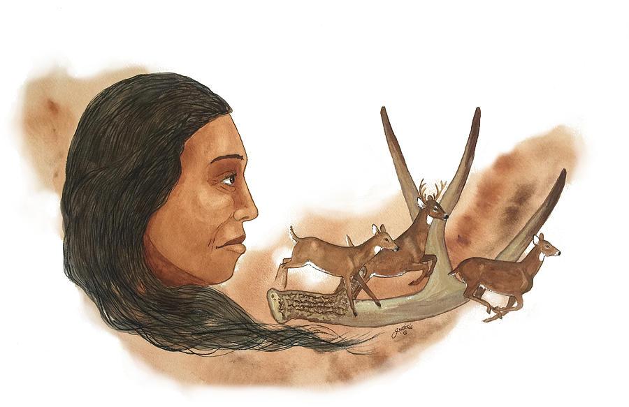 Cherokee Painting - Deer Clan by John Guthrie