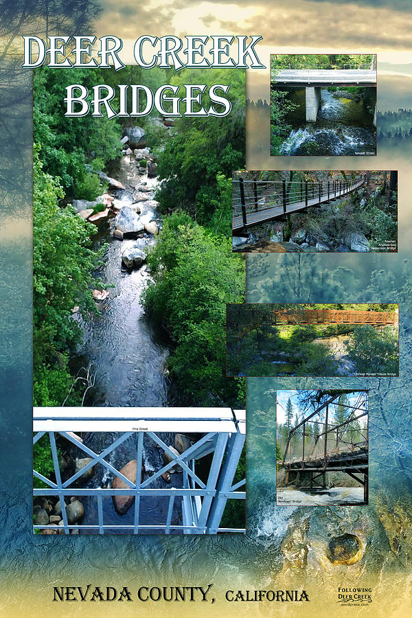 Water Digital Art - Deer Creek Bridges by Lisa Redfern