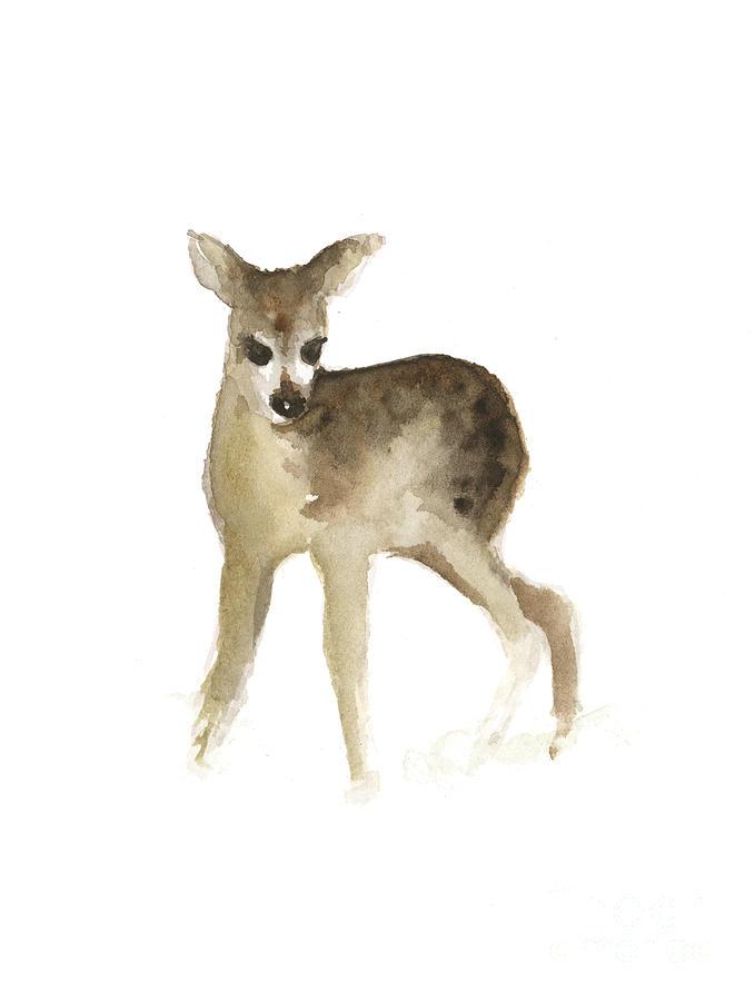 Deer Painting - Deer Fawn Watercolor Painting by Joanna Szmerdt