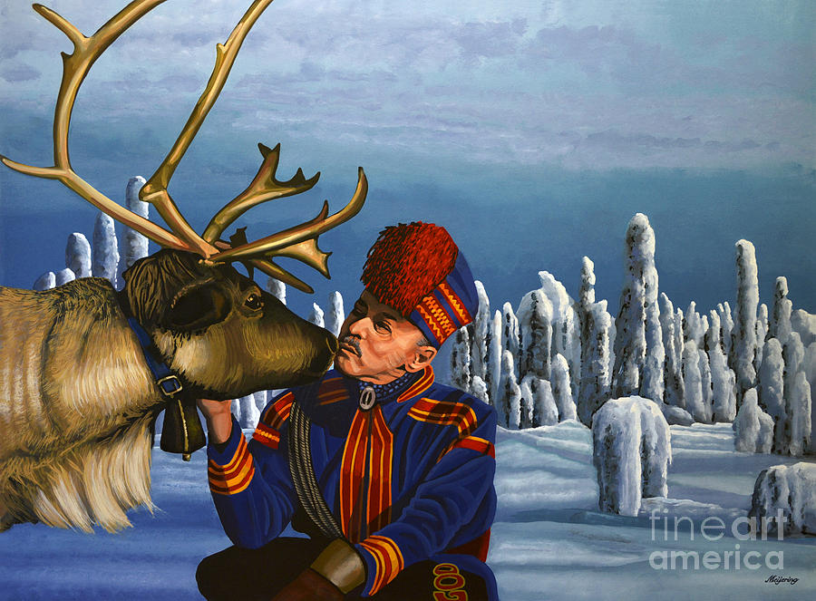 Finland Painting - Deer Friends Of Finland by Paul Meijering