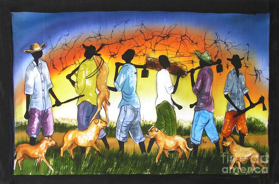 Family Painting - Deer Hunt by Ted Samuel Mkoweka