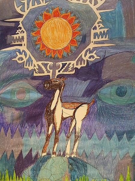 Deer In Wilderness Drawing
