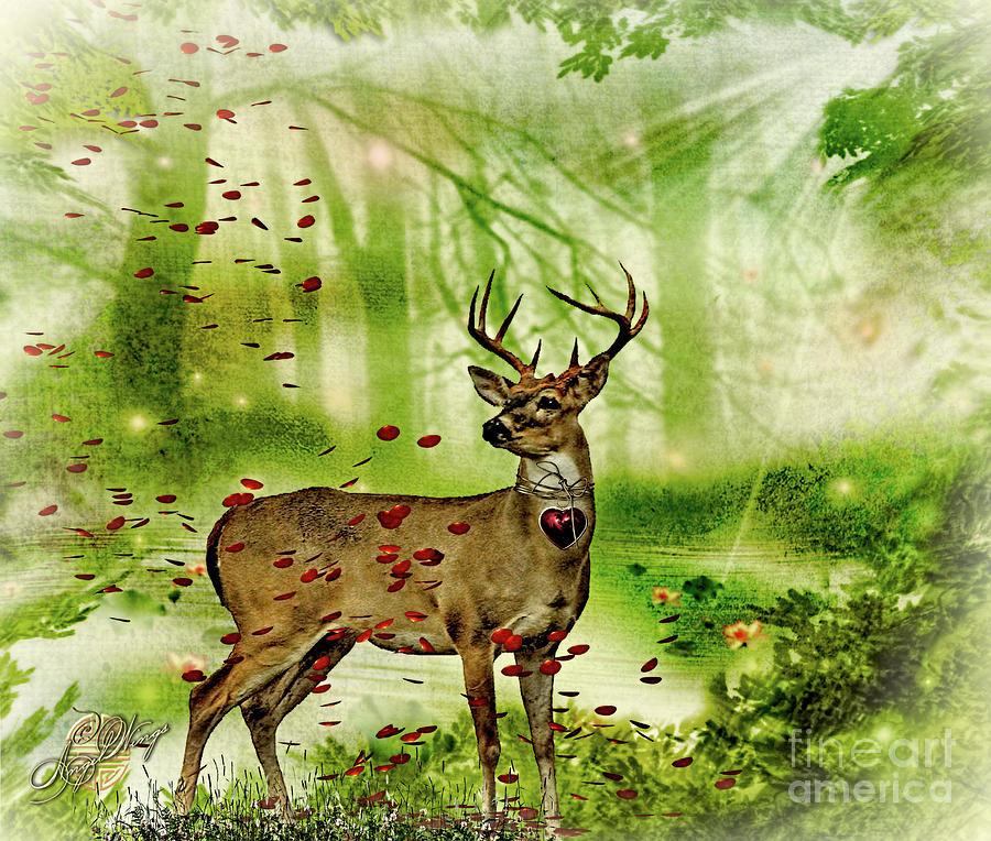 Deer In Woods Digital Art by Angel Wings