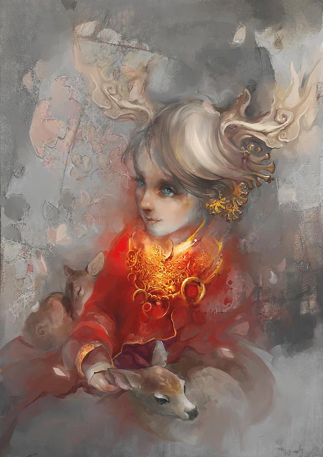 Portrait Digital Art - Deer Princess by Te Hu